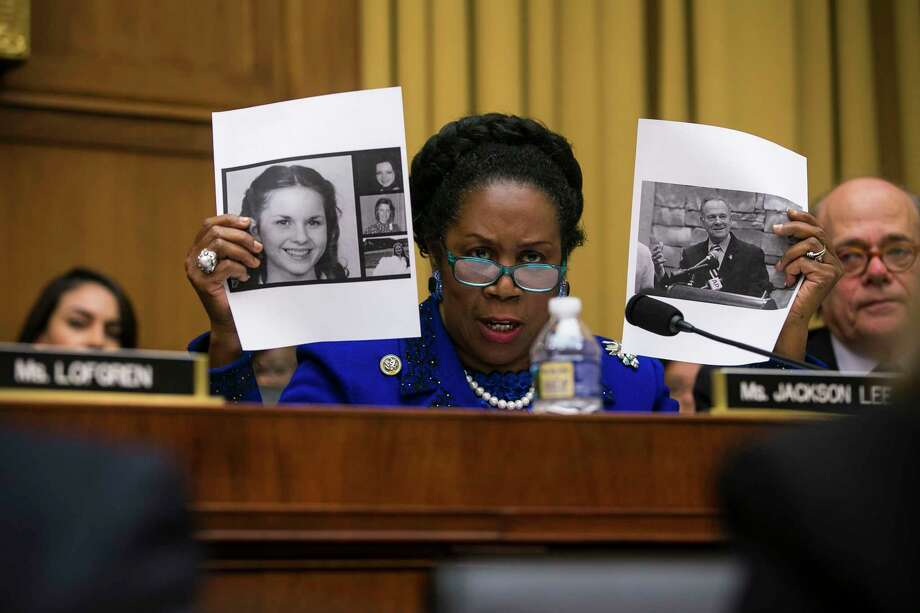 U.S. Rep. Sheila Jackson Lee, D-Texas, questions Attorney General Jeff Sessions about allegations against Senate candidate Roy Moore during a hearing before the House Judiciary Committee on Capitol Hill on Nov. 14, 2017. (Al Drago/The New York Times) Photo: AL DRAGO, STR / NYTNS