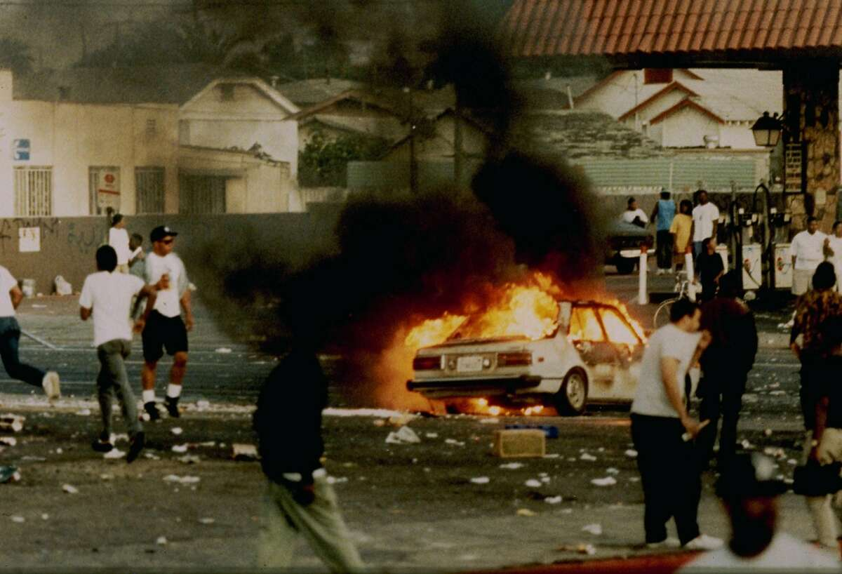 """A scene from Dan Lindsay and TJ Martin's docmentary """"LA 92,"""" about the riots in Los Angeles that followed the verdicts in the Rodney King beating case."""