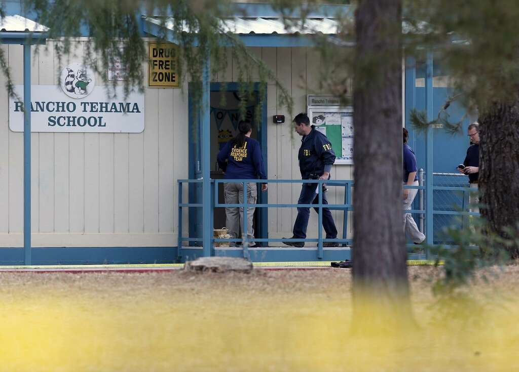 FBI Investigators at Rancho Tehama elementary school in the small community of Rancho Tehama, Ca. where a gunman killed several people earlier this morning on Tuesday Nov. 14, 2017, in Tehama County, Ca. Photo: Michael Macor / The Chronicle / ONLINE_YES