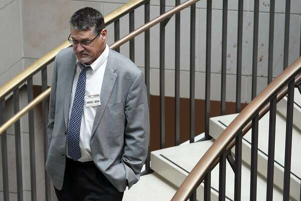 Glenn R. Simpson, co-founder of the research firm Fusion GPS, arrives for a scheduled appearance before a closed House Intelligence Committee hearing on Capitol Hill in Washington, Tuesday, Nov. 14, 2017. (AP Photo/Pablo Martinez Monsivais)