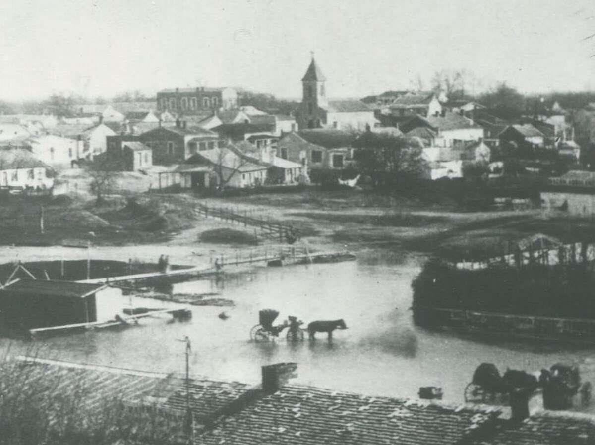 La Villita (to the left of St. John's Lutheran Church) when it was a middle-class residential neighborhood, circa 1876.