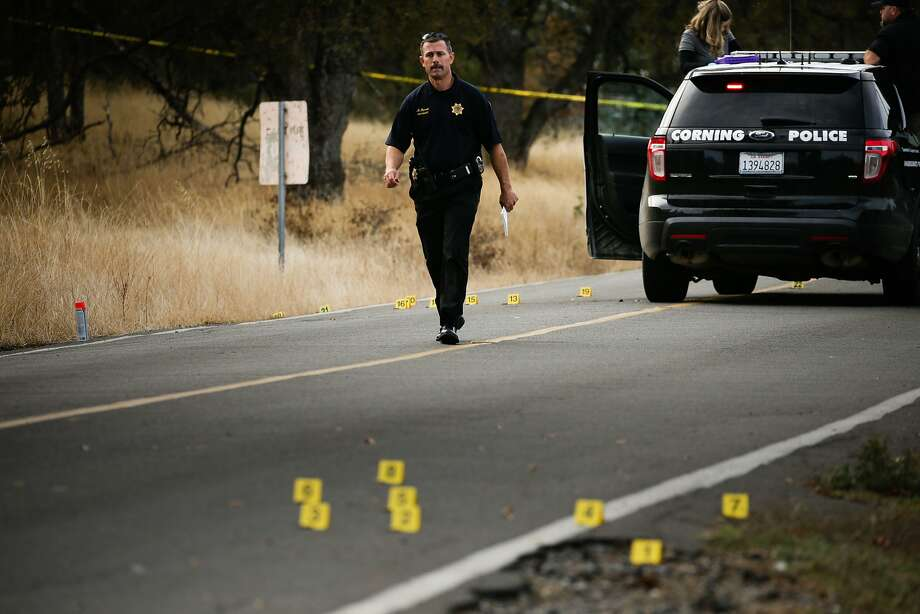 A law enforcement officer is seen at one of many crime scenes after a shooting on November 14, 2017, in Rancho Tehama, California Four people were killed and nearly a dozen were wounded, including several children, when a gunman went on a rampage at multiple locations, including a school in rural northern California. / AFP PHOTO / Elijah NouvelageELIJAH NOUVELAGE/AFP/Getty Images Photo: ELIJAH NOUVELAGE, AFP/Getty Images