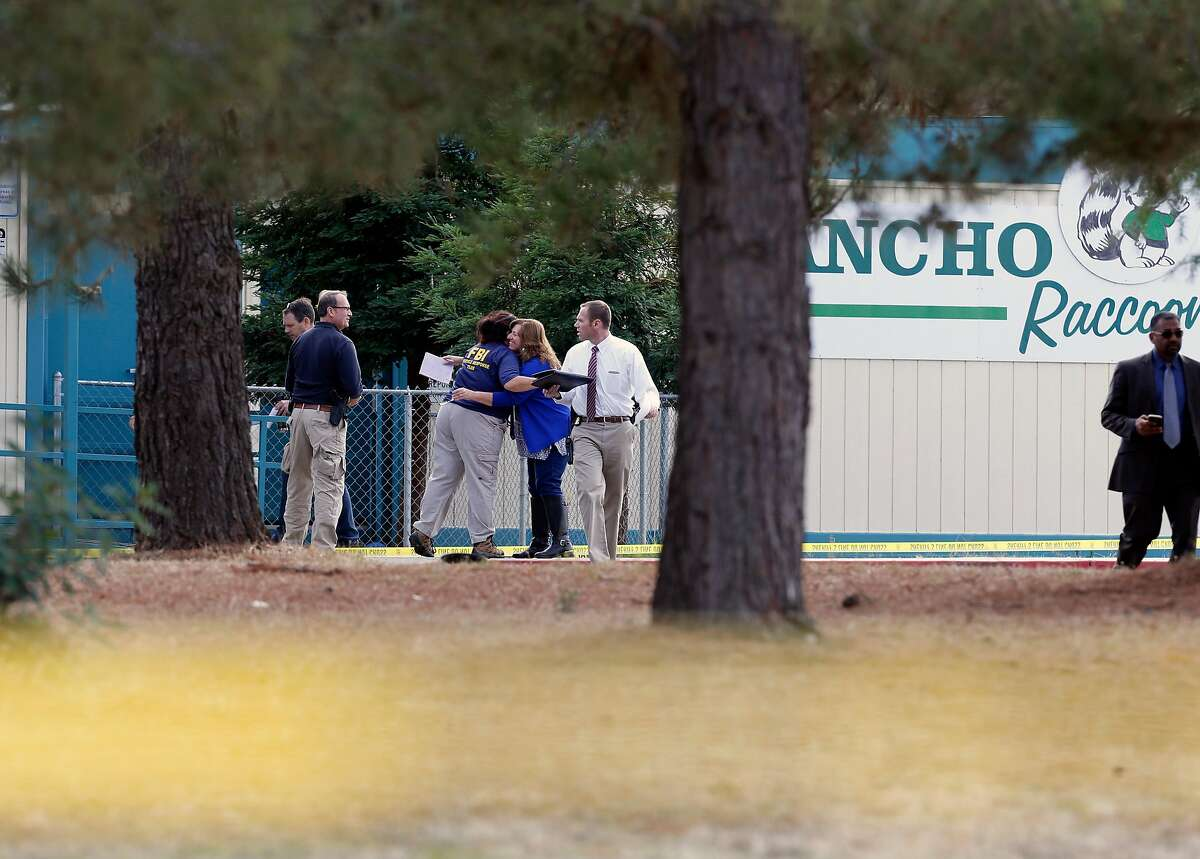 FBI Investigators at Rancho Tehama elementary school in the small community of Rancho Tehama, Ca. where a gunman killed several people earlier this morning on Tuesday Nov. 14, 2017, in Tehama County, Ca.
