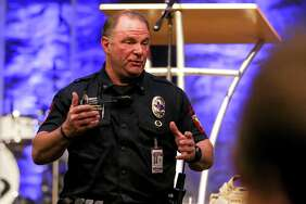 Montgomery Police Chief Jim Napolitano speaks during a town hall between law enforcement and church leaders on church security Tuesday, Nov. 14, 2017, at Fellowship of Montgomery Church.