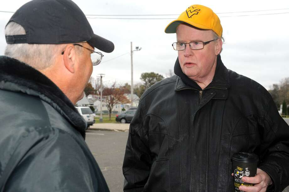 Bob Keeley, candidate for the 133rd City Council District, greets voters outside of Blackham School in Bridgeport, Conn. Nov. 14, 2017. Photo: Ned Gerard / Hearst Connecticut Media / Connecticut Post