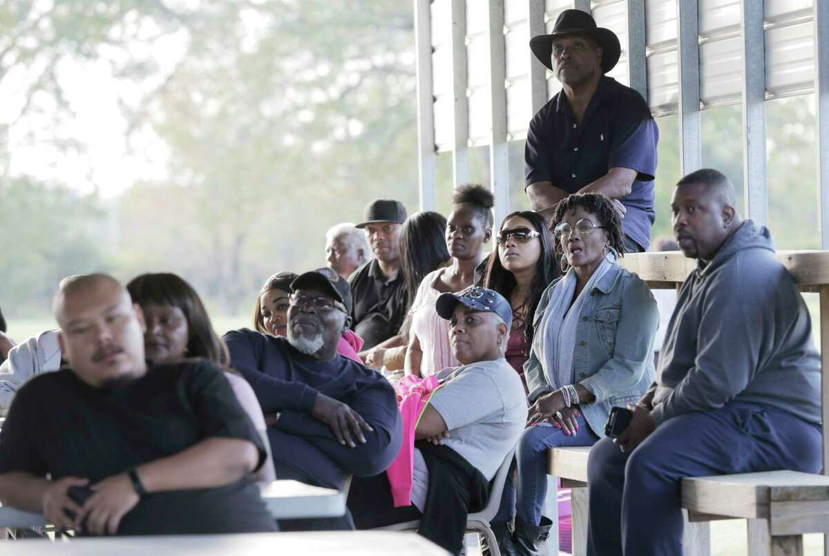 Arkema plant neighbors listen to lawyers about their options after the explosions at the plant that happened as a result of Harvey on Saturday, Nov. 11, 2017, in Crosby.