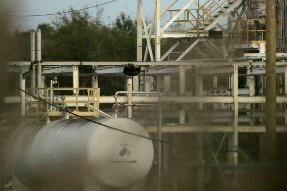 A tank at the Arkema plant on Saturday, Nov. 11, 2017, in Crosby.