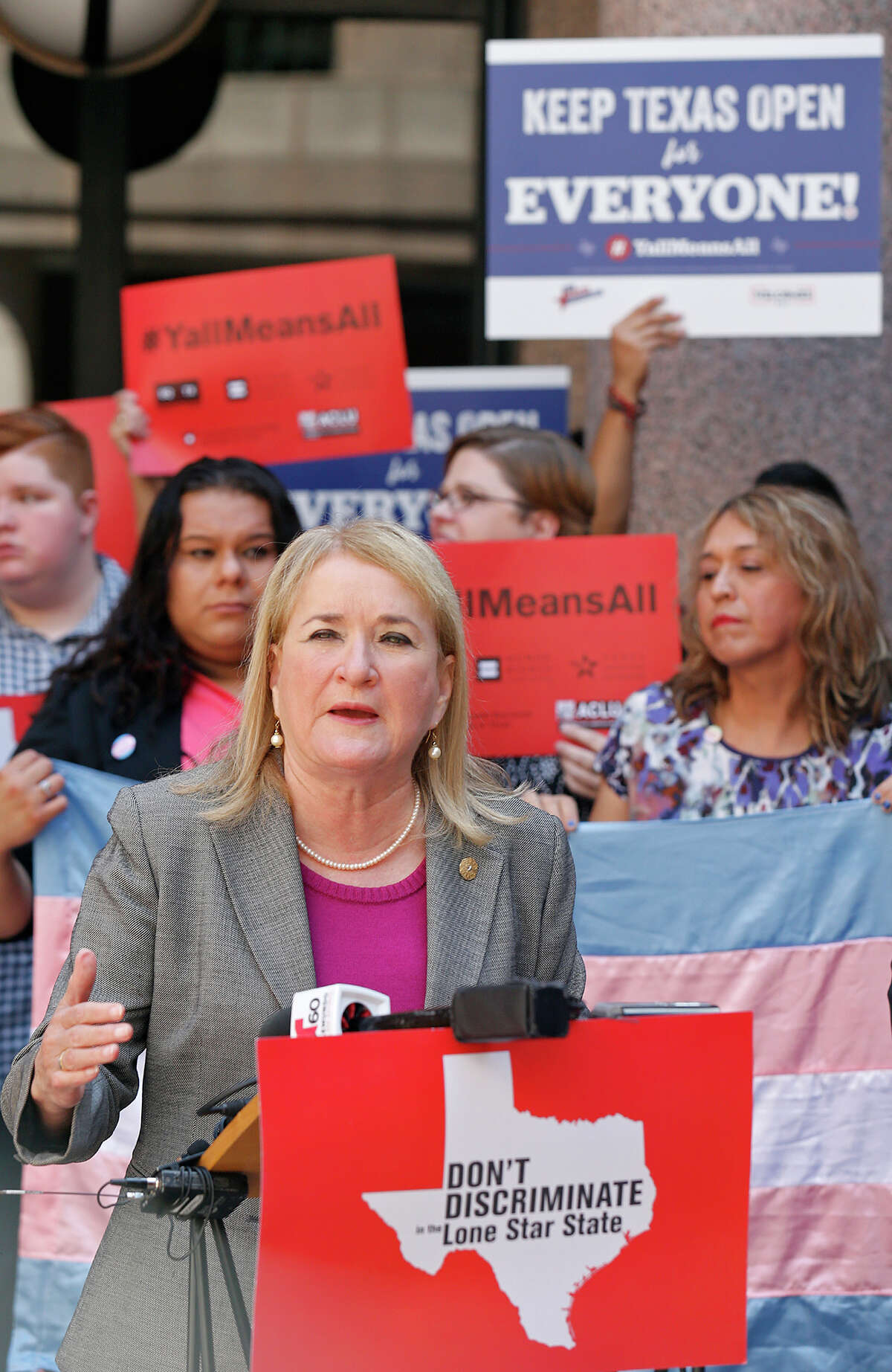 """Sen. Sylvia Garcia, D-Houston, speaks during a press conference against the """"bathroom bills"""" held at the Texas State Capitol Friday July 21, 2017 in Austin, Tx."""