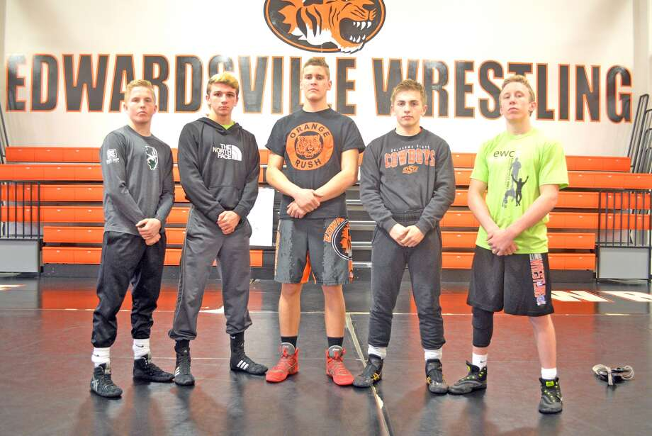 Seniors and returning varsity letter winners for the Edwardsville wrestling team are, left to right, Noah Surtin, Dylan Wright, Riley Scheffel, Will Zupanci and Luke Odom. Not pictured are Norman Harris, Josh Anderson, Sam Martin and Jack Evans.