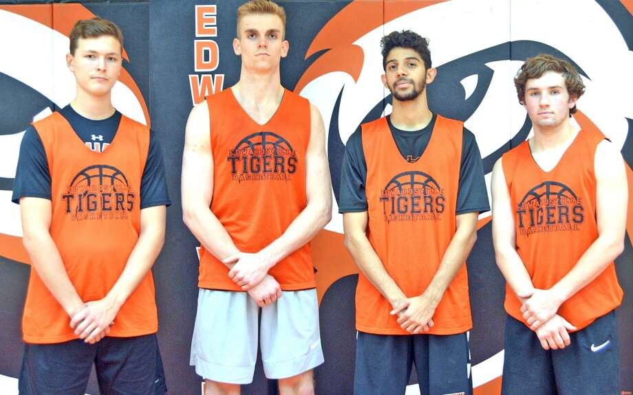 Seniors on the Edwardsville boys' basketball team are, left to right, Craig Roberts, Caleb Strohmeier, Cole Scarbrough and Jack Marinko.