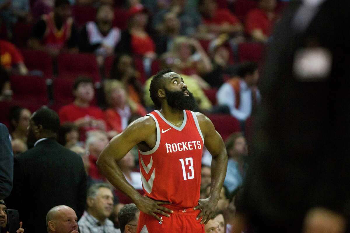 Houston Rockets guard James Harden (13) watches a replay during the first half of the game against the Toronto Raptors, Tuesday, Nov. 14, 2017, in Houston.