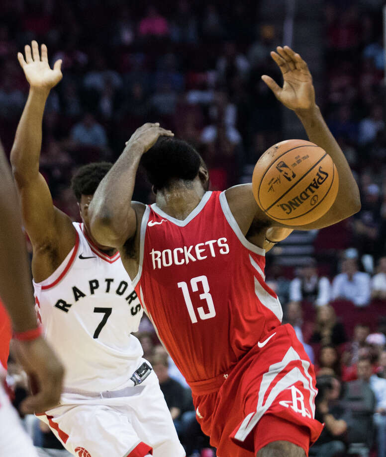 Houston Rockets guard James Harden (13) reacts after being hit on the face during the first half while playing against the Toronto Raptors, Tuesday, Nov. 14, 2017, at the Toyota Center in Houston. Photo: Marie D. De Jesus, Houston Chronicle / © 2017 Houston Chronicle