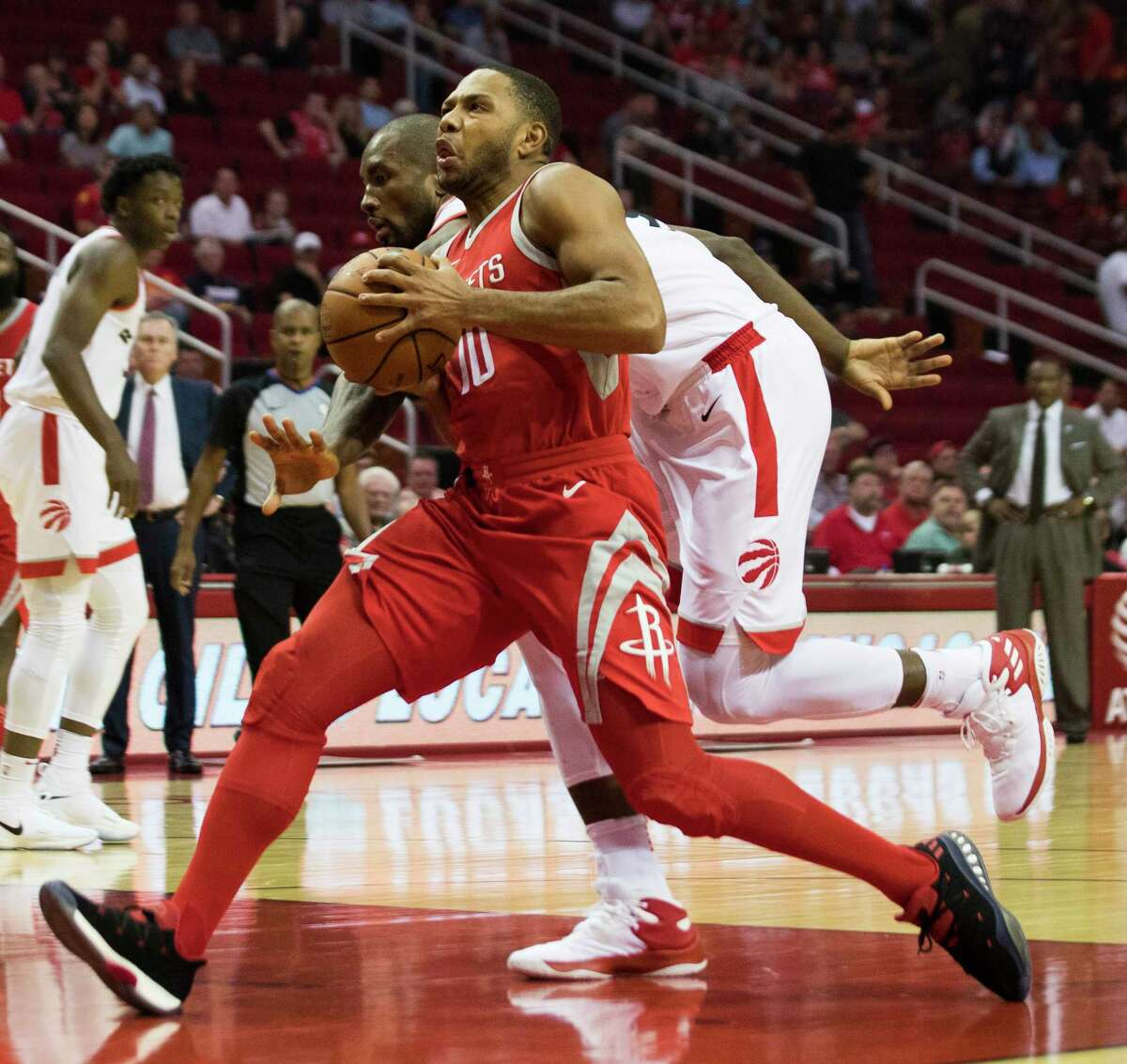 Houston Rockets guard Eric Gordon (10) drives to the basket during the first quarter against the Toronto Raptors, Tuesday, Nov. 14, 2017, in Houston.