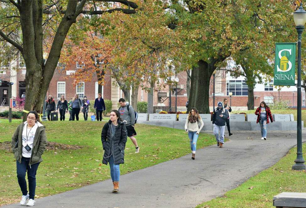 Students on the Siena College campus Tuesday Nov. 14, 2017 in Colonie, NY. (John Carl D'Annibale / Times Union)