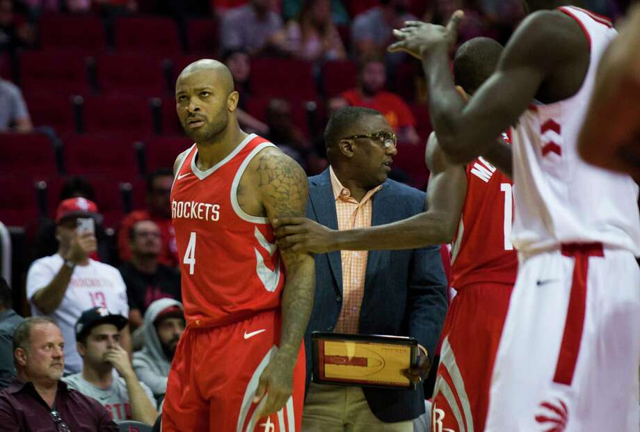 Houston Rockets forward PJ Tucker (4) disapproves of a foul called against him during the second half of the game against the Toronto Raptors, Tuesday, Nov. 14, 2017, at the Toyota Center in Houston. Photo: Marie D. De Jesus, Houston Chronicle / © 2017 Houston Chronicle