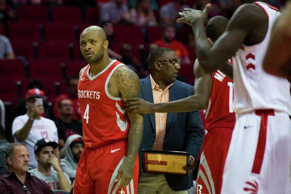 Houston Rockets forward PJ Tucker (4) disapproves of a foul called against him during the second half of the game against the Toronto Raptors, Tuesday, Nov. 14, 2017, at the Toyota Center in Houston.