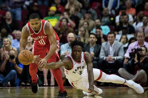 Houston Rockets guard Eric Gordon (10) loses control over the ball under the pressure of Toronto Raptors forward OG Anunoby (3) during the second half, Tuesday, Nov. 14, 2017, at the Toyota Center in Houston. The Toronto Raptors won 129-113 against the Rockets.