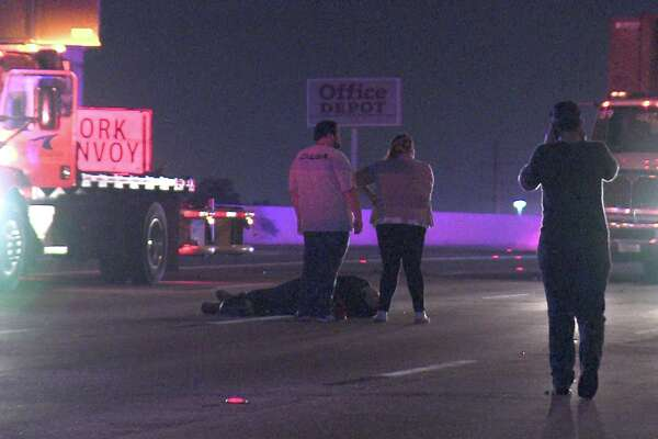 Police said the motorcyclist hit the road work vehicle just after 2:35 a.m. on Interstate 10 near Vance Jackson Road.
