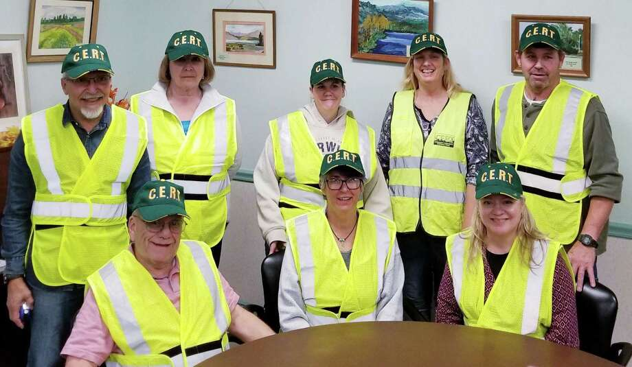 The New Milford Community Emergency Response Team recently welcomed eight new members, following 20 hours of CERT training. They are, from left to right, in front, Frank Greco, Cathy Rehaag and Adria Patrick, and in back, Chester Nason, Leah Gill, Tanya Lillis, Liz Kingsley and Ted Pancoast. Photo: Courtesy Of New Milford CERT / The News-Times Contributed