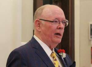 Richard C. Colton Jr., of the class of 1960 at the Gunnery in Washington, is shown at the dedication of the Richard C. Colton Jr. Center for Performing and Fine Arts at the Academy of the Sacred Heart in New Orleans in October.