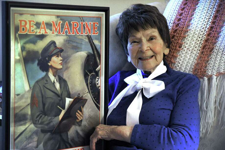 "Veronica ""Ronnie"" Bradley, 94, of New Milford, was among the first women to join the U.S. Marine Corps during World War II. As an airplane mechanic, she eventually became the subject of a recruitment poster to encourage other women to join the Marine Corps. Photo: Carol Kaliff / Hearst Connecticut Media / The News-Times"