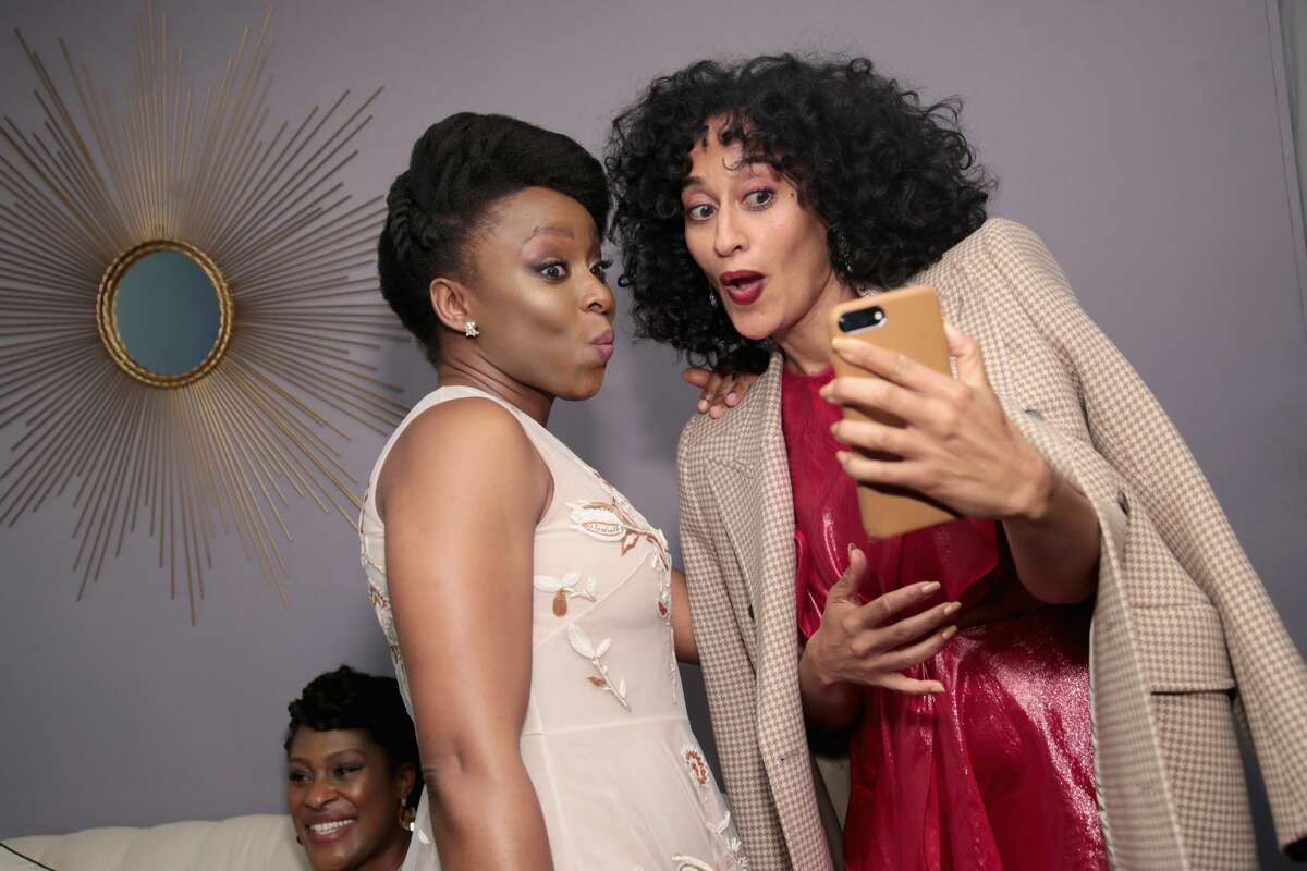 Chimamanda Ngozi Adichie and Tracee Ellis Ross pose backstage at Glamour's 2017 Women of The Year Awards at Kings Theatre on November 13, 2017 in Brooklyn, New York. (Photo by Cindy Ord/Getty Images for Glamour)