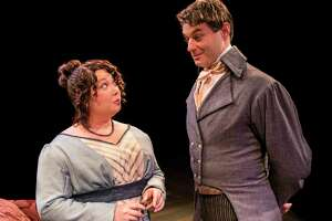 """Chaney Moore and Spencer Plachy in Main Street Theater's """"Miss Bennet: Christmas at Pemberley"""""""