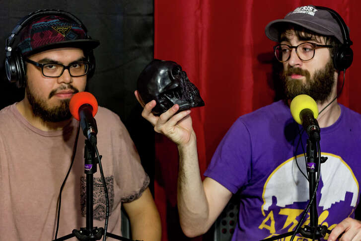 "Julian Lara, left and Brandon Clements, who host the ""Dead Dialect"" podcast."