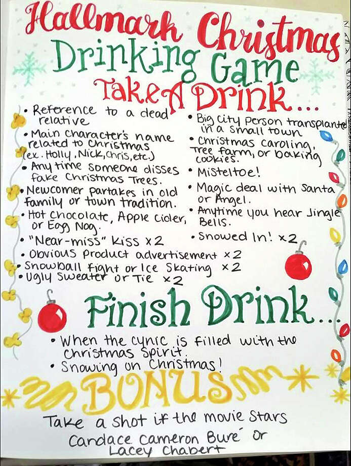 A woman from Haslet, Texas, has created a funny drinking game for the Hallmark holiday movie enthusiast in your life.Swipe through to see some drinking game-worthy Hallmark movies. Photo: Brittany Graves