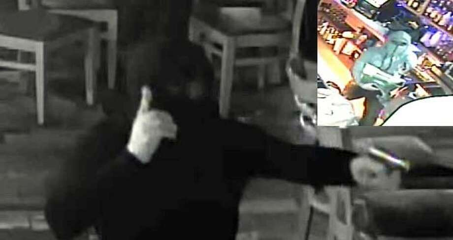 Two security camera images of the suspect in a robbery were release by police. The robber shot a bartender at BAR, and fled with cash, police said. Photo: Contributed Photo / Stratford Police / Contributed Photo / Connecticut Post Contributed