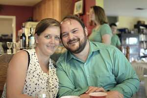 FILE - This April 16, 2017, photo provided by Torie McCallum shows Sutherland Springs First Baptist Church shooting victims John and Crystal Holcombe in Floresville, Texas. John survived the shooting but his wife Crystal, who was pregnant, was killed along with three of their children Sunday, Nov. 5, at the church. John Holcombe will hold a funeral Wednesday, Nov. 15, for his pregnant wife and three of her children, his parents, a brother and a toddler niece. Holcombe has arranged a public funeral for his family at an event center in Floresville, about 12 miles from the church where the shooting occurred. A procession of hearses will travel from the funeral home to the center. The dead will be buried privately on an unspecified date. (Torie McCallum via AP, File)