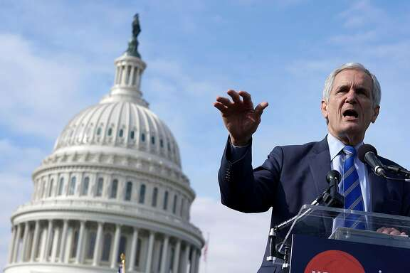 WASHINGTON, DC - NOVEMBER 15:  Rep. Lloyd Doggett (D-TX) addresses a rally against the proposed Republican tax reform legislation on the east side of the U.S. Capitol November 15, 2017 in Washington, DC. The rally was organized by a large group of liberal organizations, including MoveOn.org, National Education Association, Patriotic Millionaires, Stand Up America, Our Revolution, Americans for Tax Fairness Action Fund, Tax March, the Center for American Progress Action Fund, Communications Workers of America, Indivisible, Little Lobbyists, Main Street Alliance and VoteVets.  (Photo by Chip Somodevilla/Getty Images)