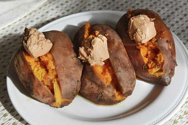 Sweet potatoes are part of Thanksgiving for two at Deanna Fox's home on Thursday, Nov. 9, 2017 in Delanson, N.Y. (Lori Van Buren / Times Union)