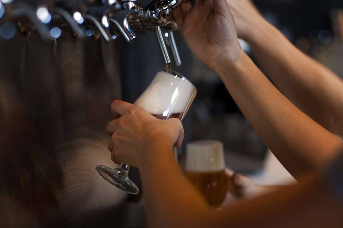 Burning Bush IPA is poured at the Golden Road, one of LA's fastest growing breweries.