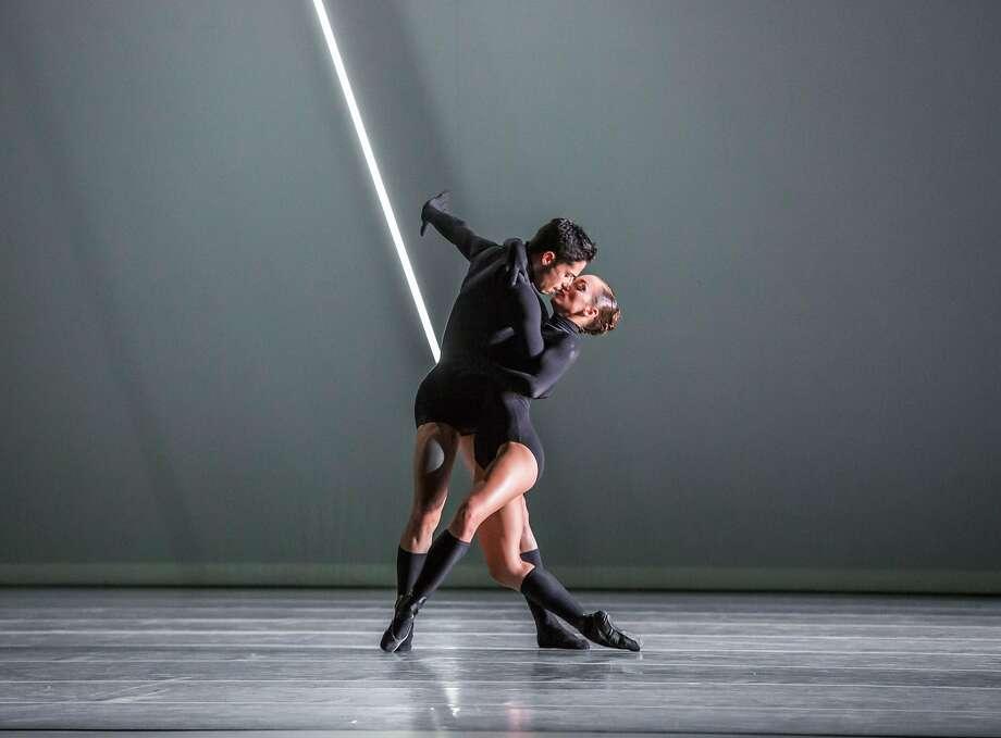 "Cara Maria Gary and Lucas Segovia of the Joffrey Ballet dance in Anabelle Lopez Ochoa's ""Mammatus,"" part of the company's program at Berkeley's Zellerbach Hall. Photo: Cheryl Mann"