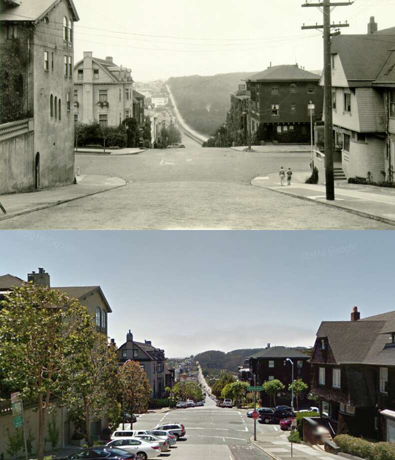 This Presidio Heights street, at Pacific and Presidio avenues, looks almost as it did 87 years ago. Photo: San Francisco Public Library/Google Maps