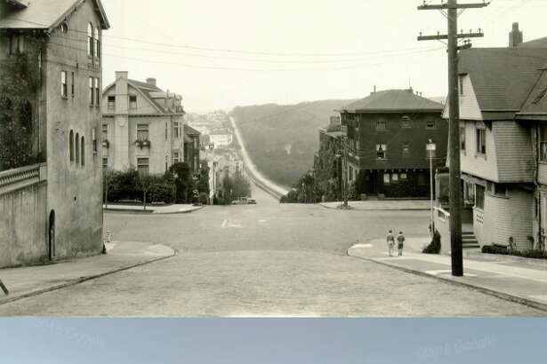 This Presidio Heights street, at Pacific and Presidio avenues, looks almost as it did 87 years ago.