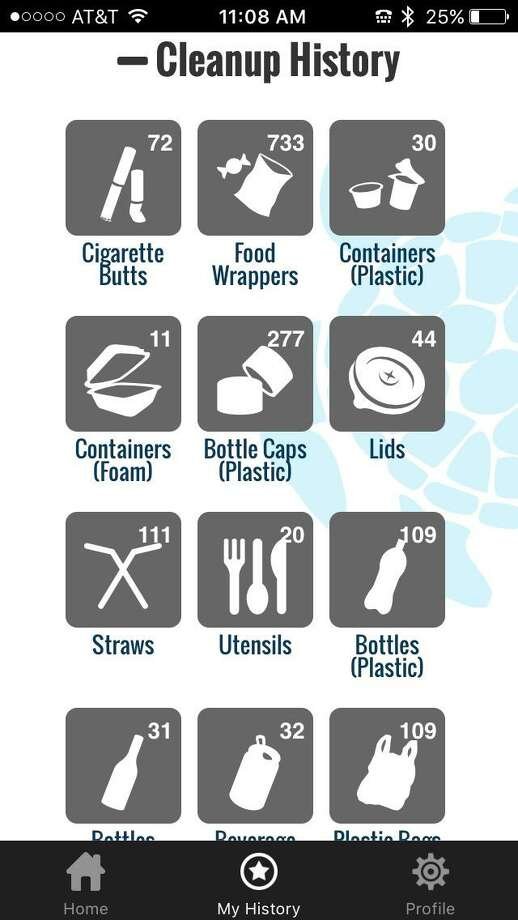 A screenshot of the Ocean Conservancy's Clean Swell app, documenting trash collected during clean ups. Photo: Contributed Photo / Greenwich Time Contributed