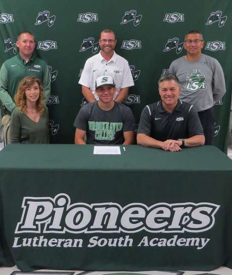 Lutheran South Academy's Christian Doxakis has signed a baseball letter of intent with Brookhaven College. Front row are Christian with his parents, Leah and Jim Doxakis and (back row) LSA baseball coaches A.J. Bettcher, Aaron Schneider and Tom de la Garza. Photo: Courtesy Photo