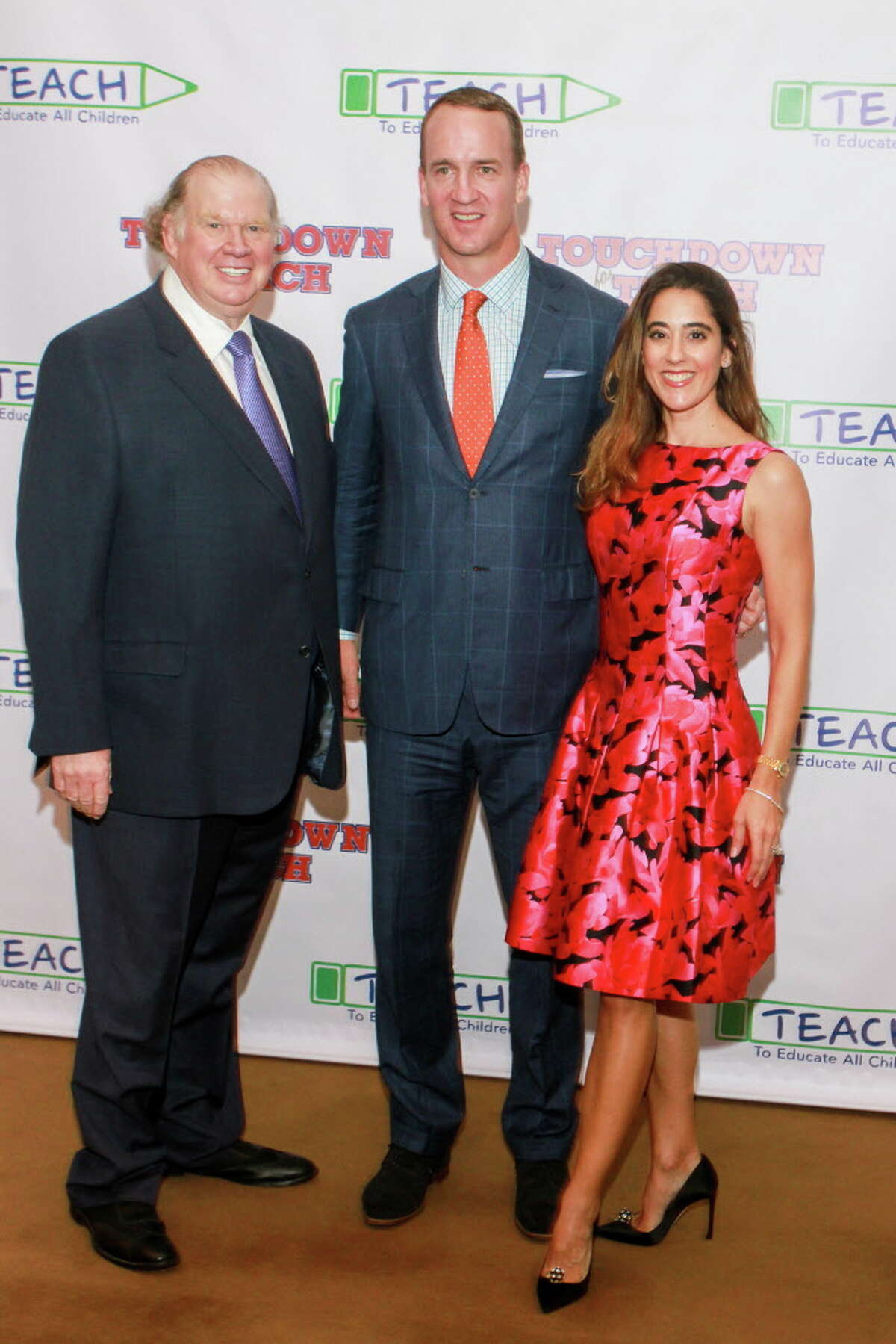 Paul and Kristina Somerville with Peyton Manning at Touchdown for TEACH at the River Oaks Country Club.