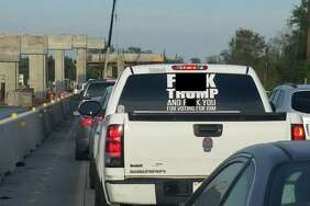 "Fort Bend County Sheriff Troy Nehls is threatening disorderly conduct charges against the owner of a white truck bearing a large ""F--- TRUMP"" sticker on the back window."