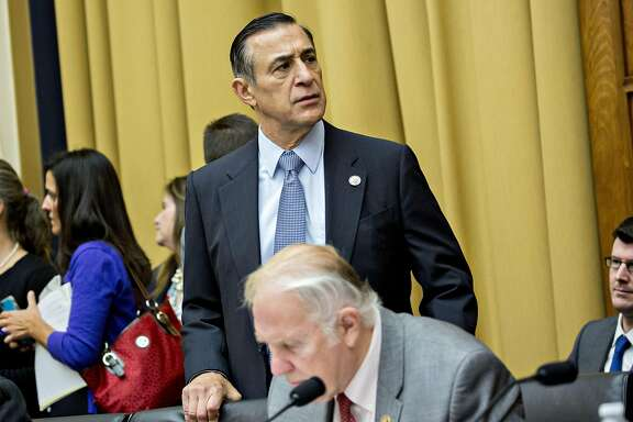 Representative Darrell Issa, a Republican from California, arrives to a House Judiciary Committee hearing with Jeff Sessions, U.S. attorney general, not pictured, in Washington, D.C., U.S., on Tuesday, Nov. 14, 2017. Sessions�denied he lied or misled Congress about contacts with Russia by people involved in�Donald Trump's presidential campaign. Photographer: Andrew Harrer/Bloomberg