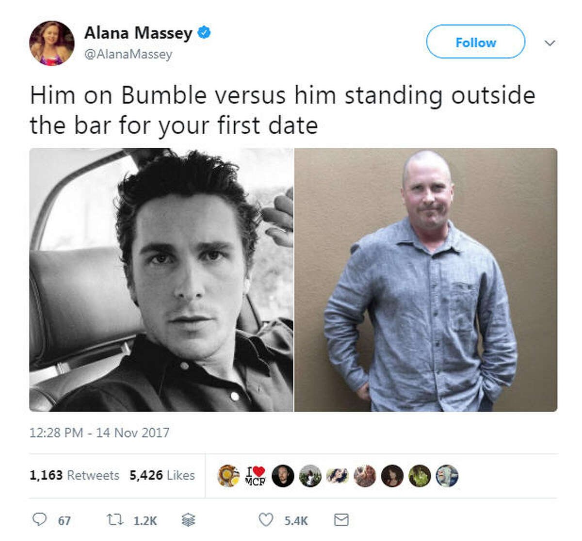 People on Twitter shared their memes and reactions after photos of a bald, overweight Christian Bale surfaced online. Photo: Twitter