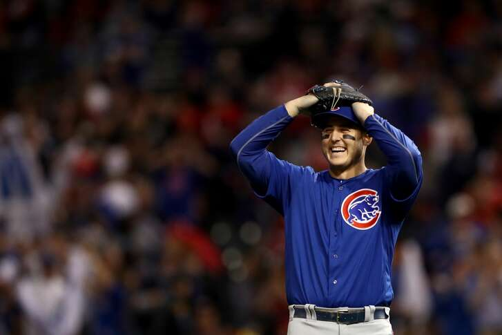 CLEVELAND, OH - NOVEMBER 01:  Anthony Rizzo #44 of the Chicago Cubs reacts after defeating the Cleveland Indians 9-3 to win Game Six of the 2016 World Series at Progressive Field on November 1, 2016 in Cleveland, Ohio.  (Photo by Elsa/Getty Images)