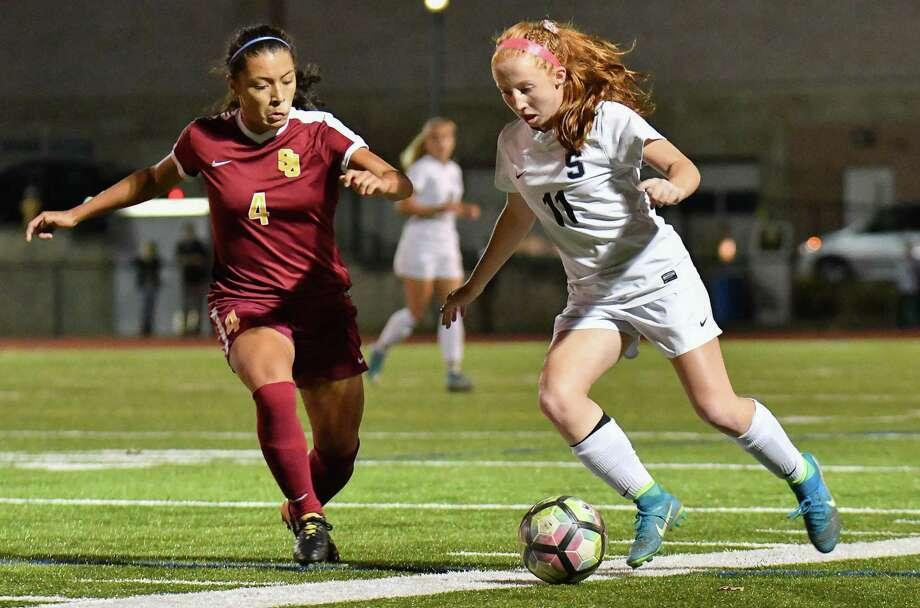 St. Joseph's Jessica Mazo (4) was the 2016 Hearst Connecticut Media's girls soccer MVP. Photo: Gregory Vasil / For Hearst Connecticut Media / Connecticut Post Freelance