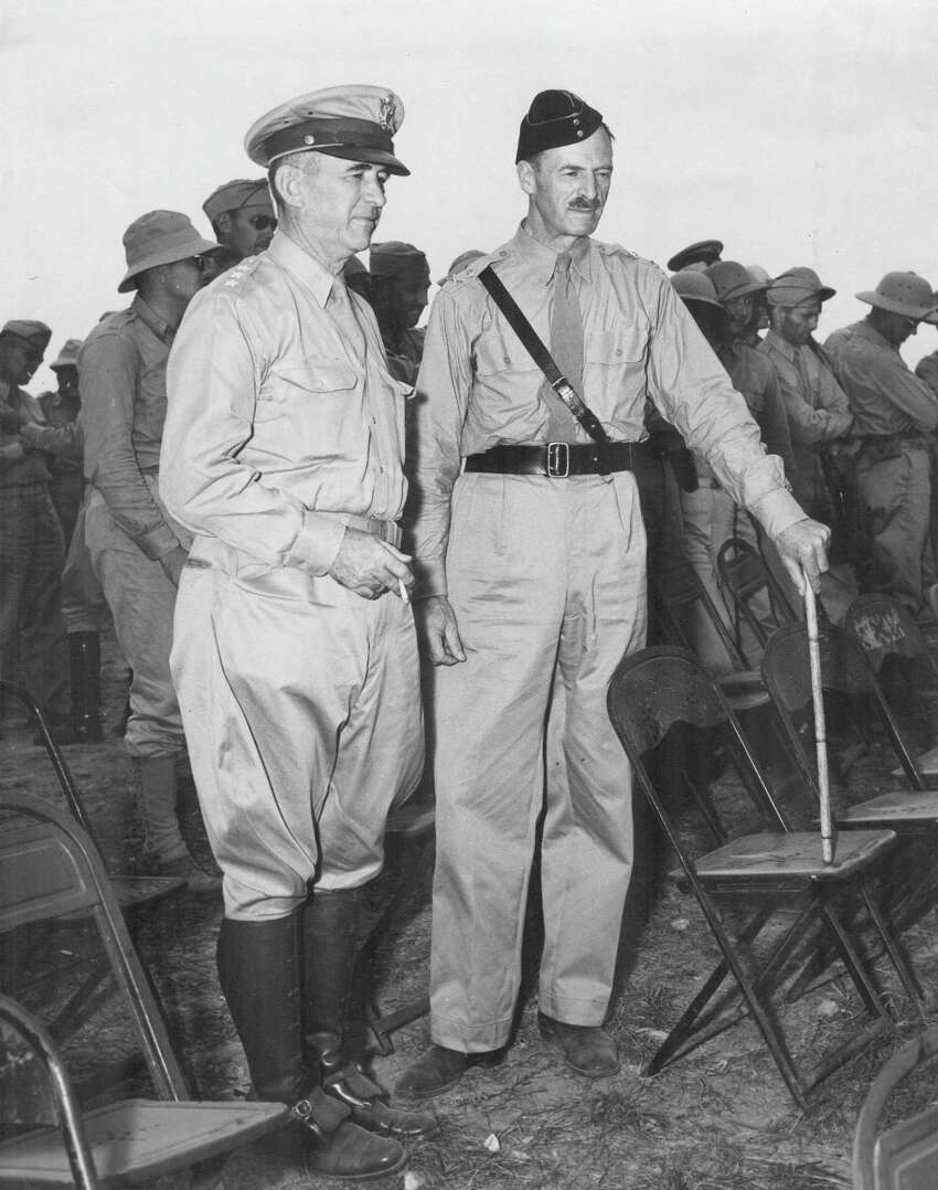 Witnessing a field exercise in the 1940s by the 2nd Infantry Division at Camp Bullis are Lt. Gen. Walter Krueger, commanding general of the Third Army; and Maj. Gen. Richard Henry Dewing of the British Military Staff in Washington, D.C. The exercise included a tank-led demonstration of an attack upon a strongly-held defensive position.