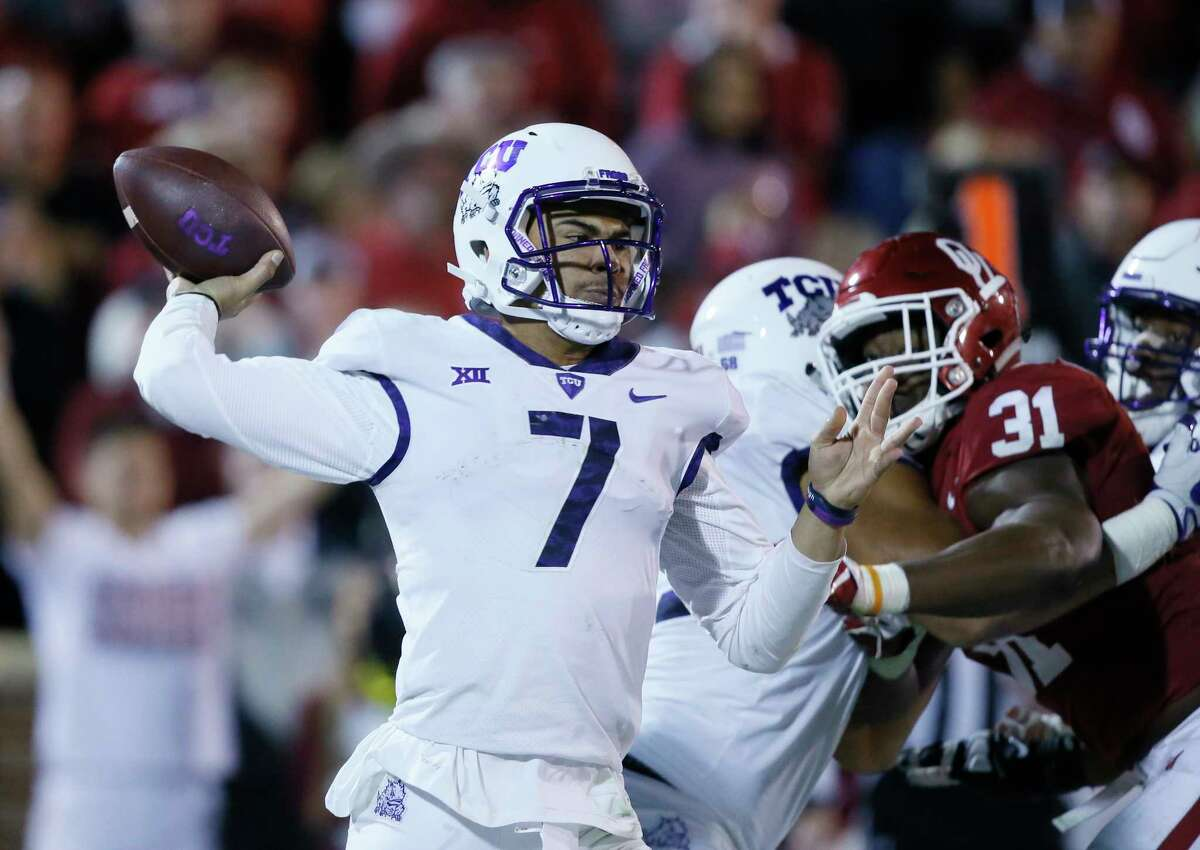 TCU quarterback Kenny Hill (7) will miss Saturday's game against Texas Tech because of an undisclosed injury.