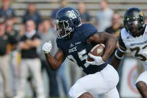 November 11, 2017:  Rice Owls running back Nahshon Ellerbe carries the ball during the college football game between the Southern Miss Golden Eagles and Rice Owls at Rice Stadium in Houston, Texas. (Leslie Plaza Johnson/Freelance