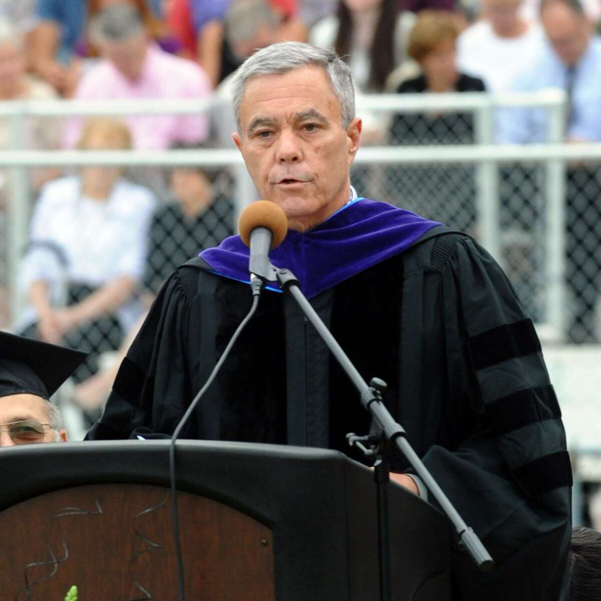 Stephen Wright, then Chairman of the Board of the Education at Trumbull High School's Class of 2012 graduation ceremony. Wright was arrested for violating his probation after serving a prison term for four drunken driving arrests in 12 weeks.