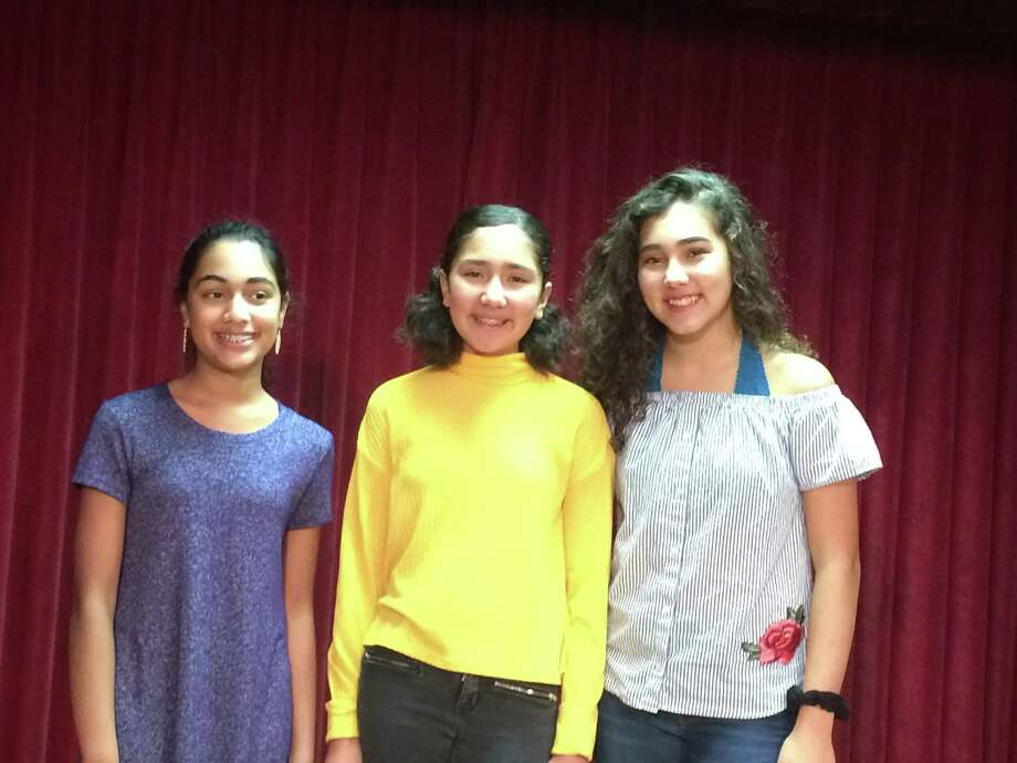 San Antonio teens Jaya Kosaraju (from left) and sisters Renee and Rosa Acevedo will perform in the Macy's Thanksgiving Day Parade with youngsters from across the country. Photo: Deborah Martin / /San Antonio Express-News